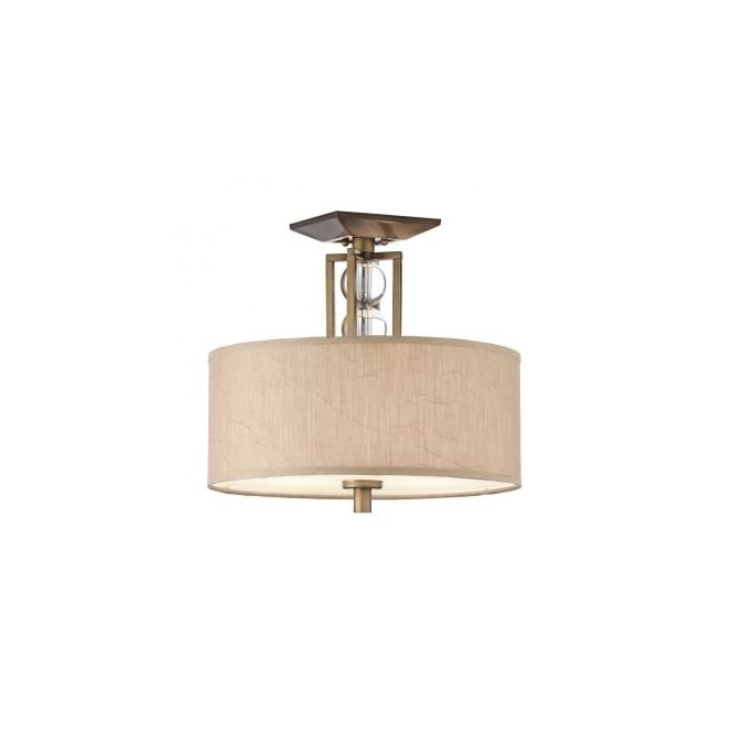 Contemporary Semi Flush Ceiling Light In Bronze With Fabric Shade
