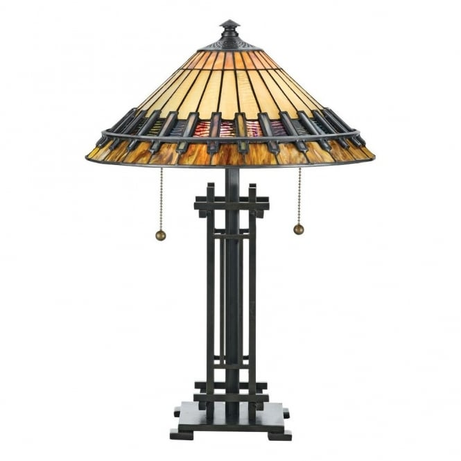 Tiffany Style Table Lamp With Bronze Base Hand Crafted Glass Shade