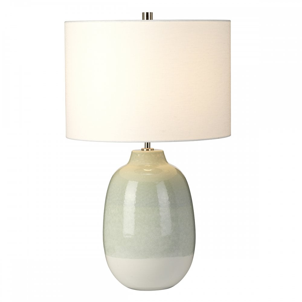 Ceramic White And Pale Green Table Lamp With Shade Lighting Company