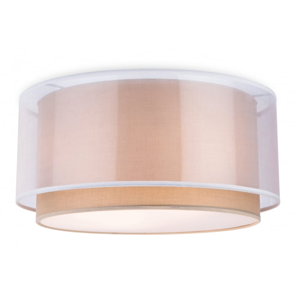 Chicago Lighting Company: Modern Semi Flush Taupe Ceiling Light With Outer Shade