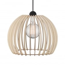 wooden slat ceiling pendant with black suspension