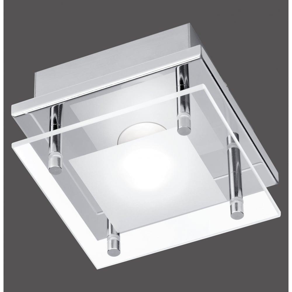 Modern square flush led ceiling light in polished chrome modern square led flush ceiling light in chrome mozeypictures Gallery
