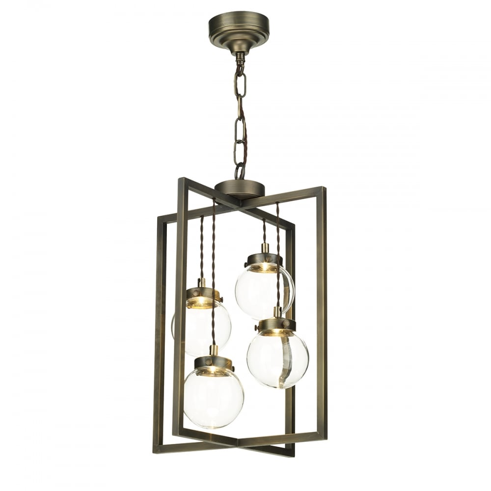 The david hunt lighting collection chiswick 4 light pendant lantern in antique brass with clear glass baubles