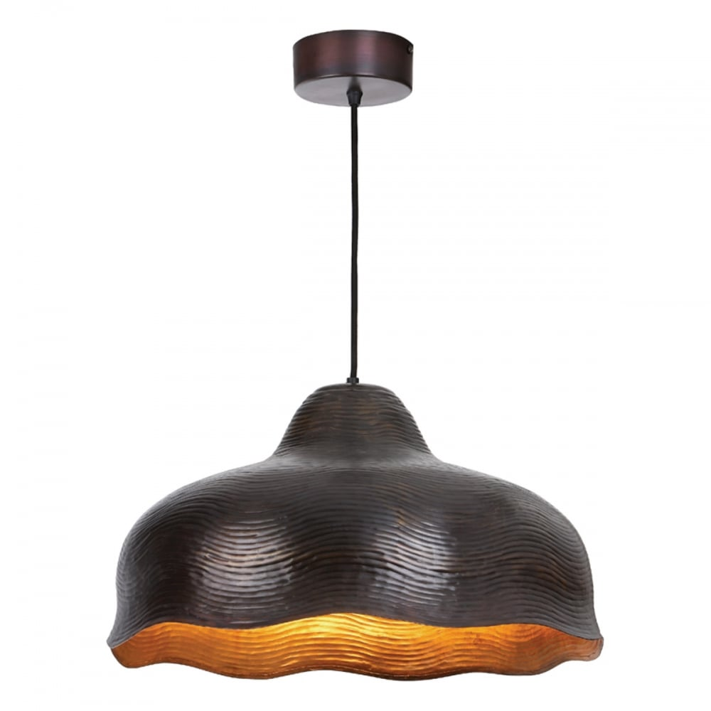 Chloe aged copper ceiling pendant with antique copper inner
