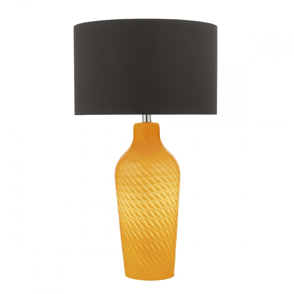Contemporary Yellow Mouth Blown Glass Table Lamp With Shade