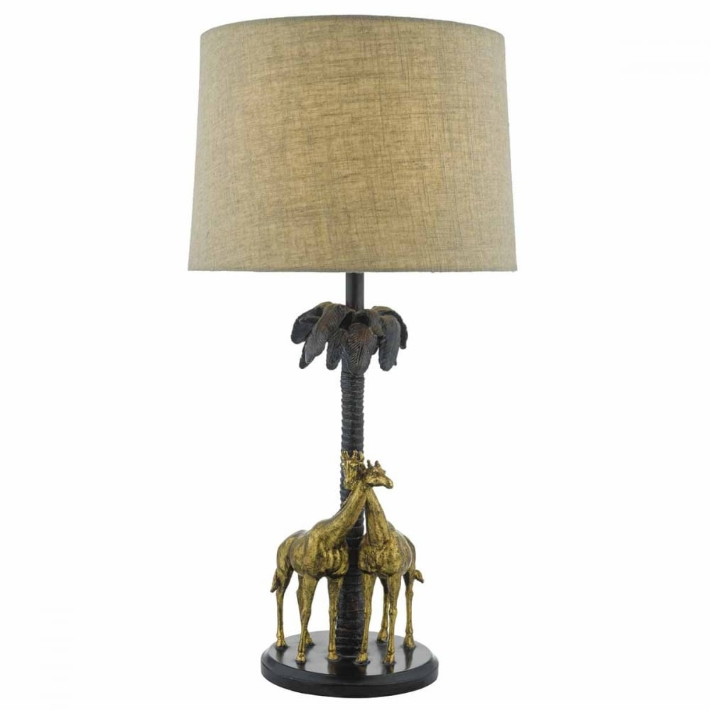 Table Lamp With Bronze Giraffe Design With Shade