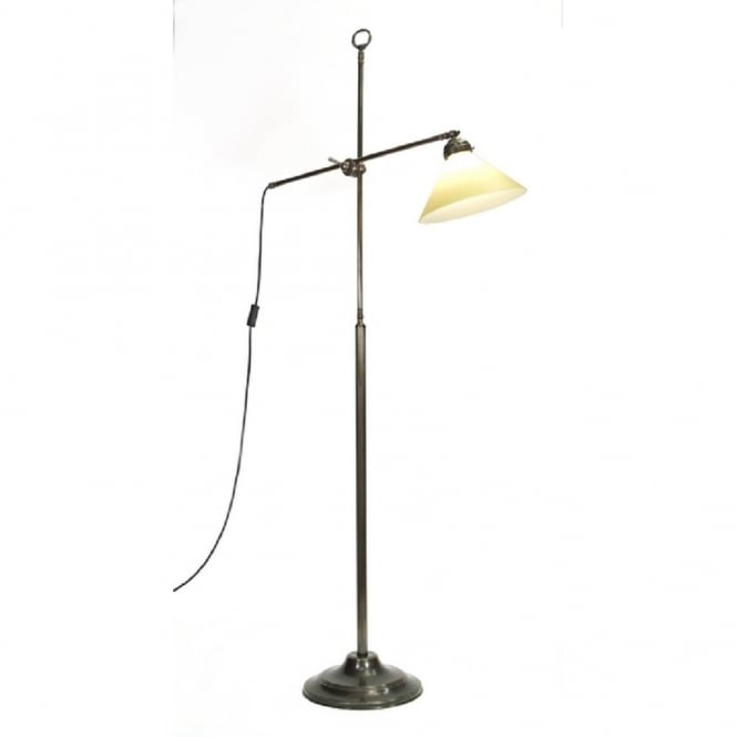 Solid aged brass angled floor standing lamp for Brass floor lamp with adjustable arm