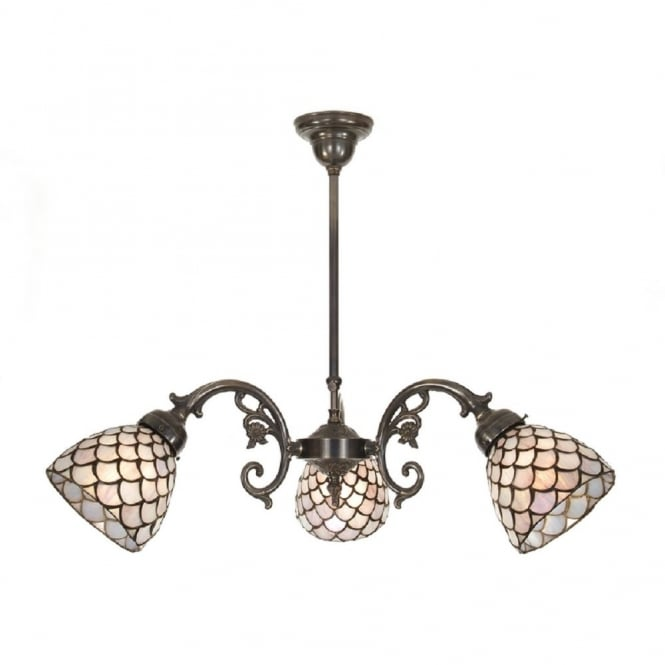 Classic British Lighting AGED BRASS ceiling light, Tiffany glass shades