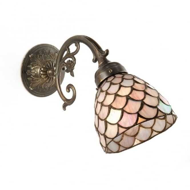 Classic British Lighting AGED BRASS WALL LIGHT with pink Tiffany shade