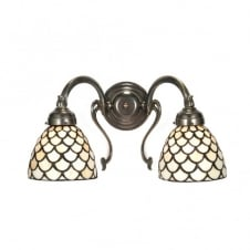 ARROW Victorian aged brass wall light, Tiffany shades
