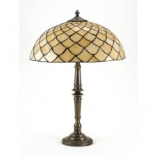 CANDLESTICK table lamp, Tiffany glass shade