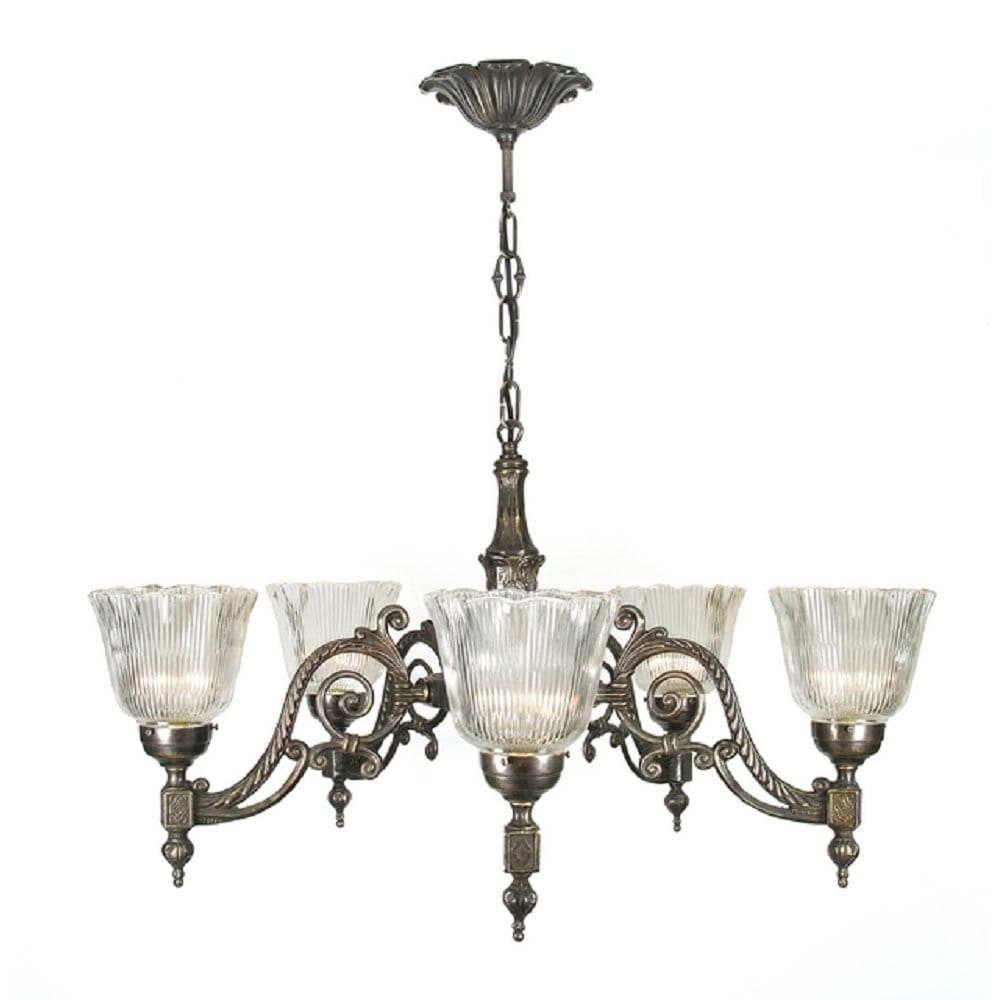 Victorian Or Edwardian Aged Brass Chandelier With