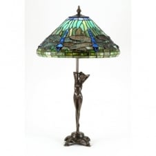 ELIZABETTA Art Nouveau table lamp, Tiffany glass shade