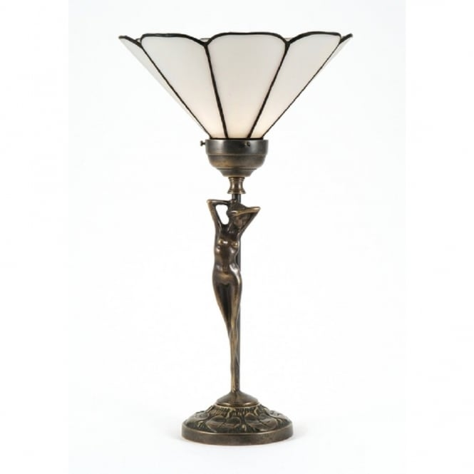 Aged Brass Table Lamp With Female Figure And Tiffany Shade