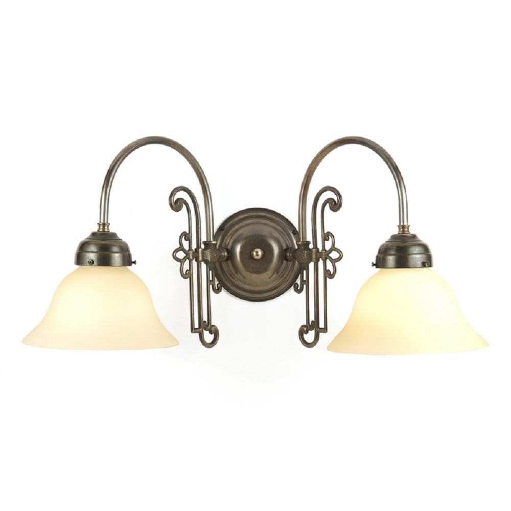 Tiffany Double Wall Lights : Victorian Aged Brass Double Wall Light with Cream Glass Shades