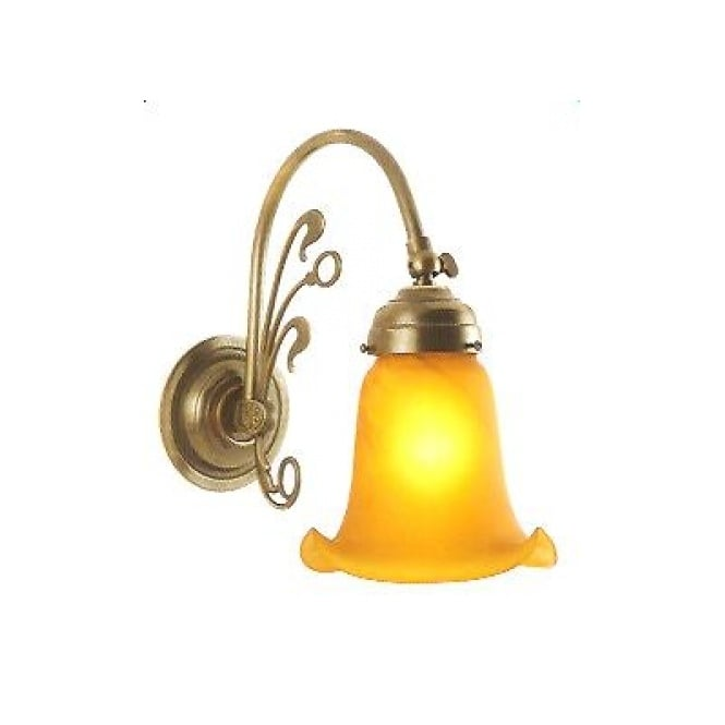 Classic British Lighting FLEUR DE LYS Art Nouveau style Victorian wall light in aged brass