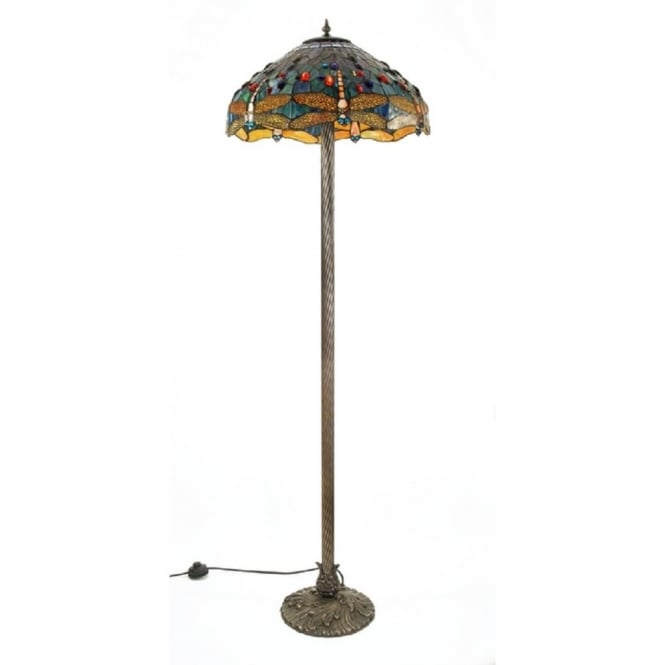 Traditional Tiffany Standard Lamp with Dragonfly Shade