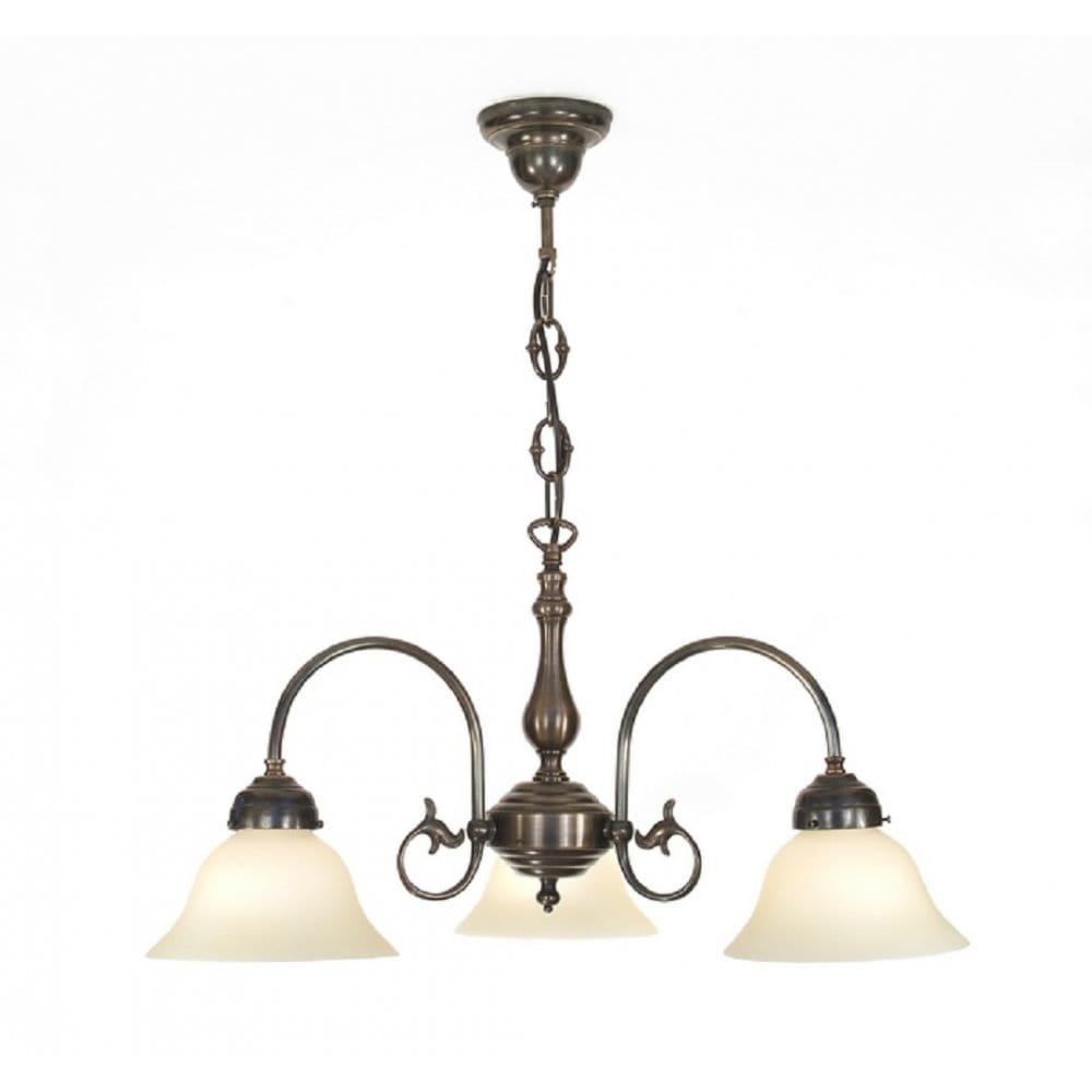 Victorian Ceiling Pendant Light In Aged Brass With Glass