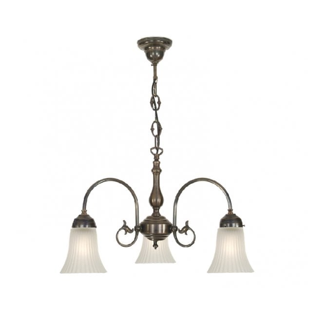 Classic British Lighting FREDA 3 light Victorian ceiling pendant with acid white ribbed glass shades