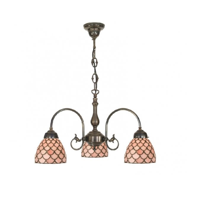 Classic British Lighting FREDA 3 light Victorian ceiling pendant with Tiffany pink shades