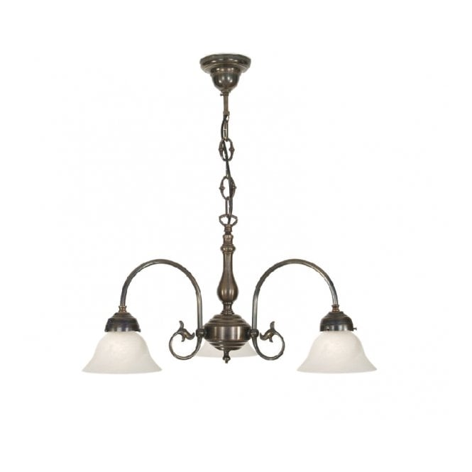 FREDA 3 light Victorian ceiling pendant with white bell shades