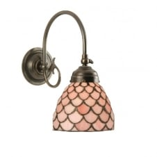 FREDA single aged brass Victorian wall light with pink Tiffany shade