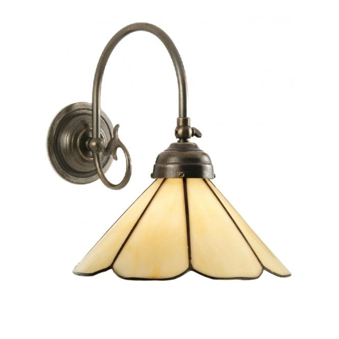 Classic British Lighting FREDA single aged brass Victorian wall light with Tiffany 8 panel shade