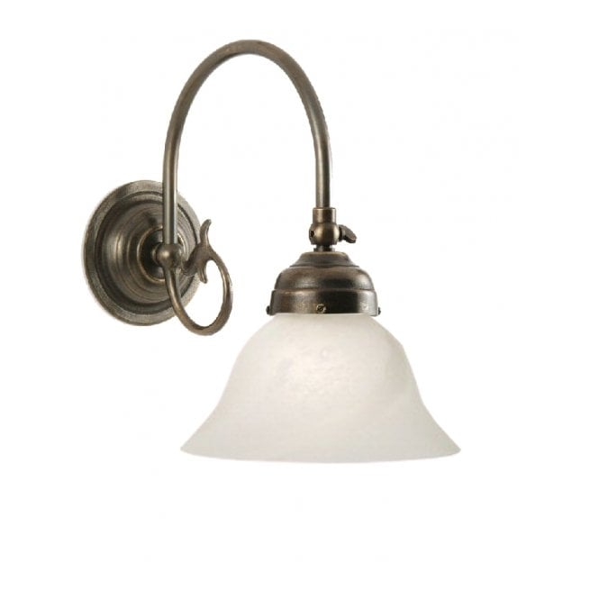 Classic British Lighting FREDA single aged brass Victorian wall light with White Bell Shade