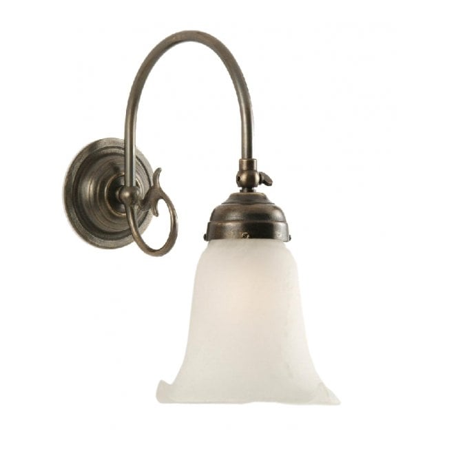 Classic British Lighting FREDA single aged brass Victorian wall light with white lily glass shade