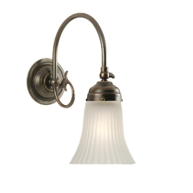 Classic British Lighting FREDA single aged brass Victorian wall light with white ribbed glass shade