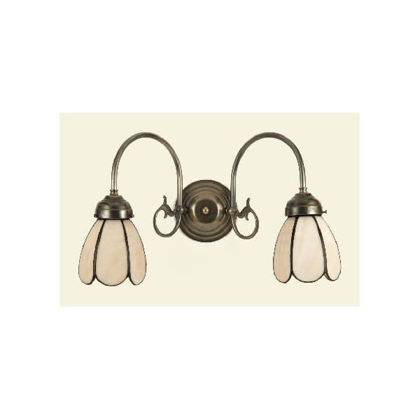 Tiffany Double Wall Lights : Traditional Victorian or Edwardian Double Wall Light, Tiffany Shades