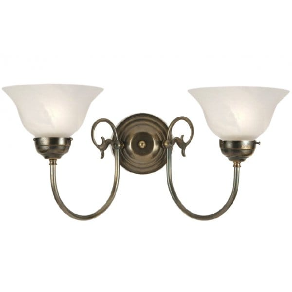 Traditional Victorian or Edwardian Double Wall Light, White Shades