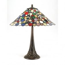 GENEVA Tiffany multi-coloured table lamp on antique base
