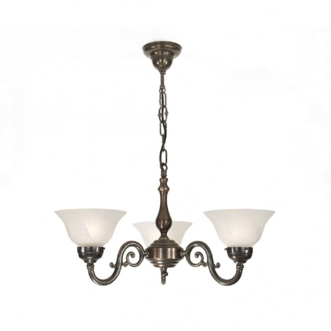 Classic British Lighting GRANDE aged brass 3 light Victorian ceiling pendant