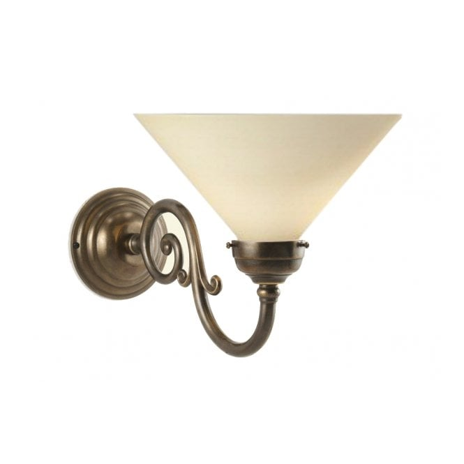Classic British Lighting GRANDE aged brass traditional cream coolie single wall light