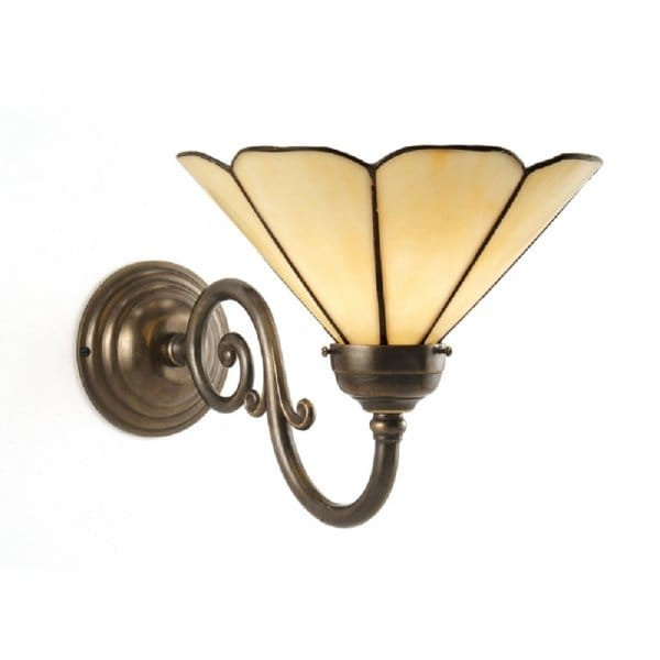 Traditional Aged Brass Single Wall Light with Tiffany Glass Shade