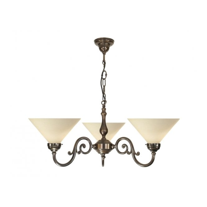 Classic British Lighting GRANDE aged brass Victorian ceiling pendant with cream coolie shades