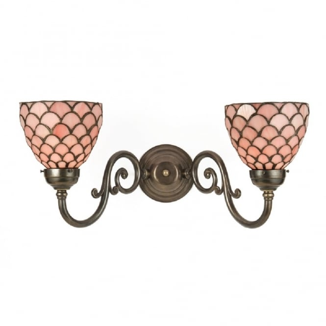 Classic British Lighting GRANDE Victorian wall light, pink Tiffany shades