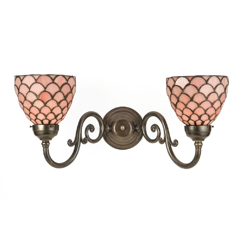 Victorian Double Wall Light with Pink Tiffany Glass Shades