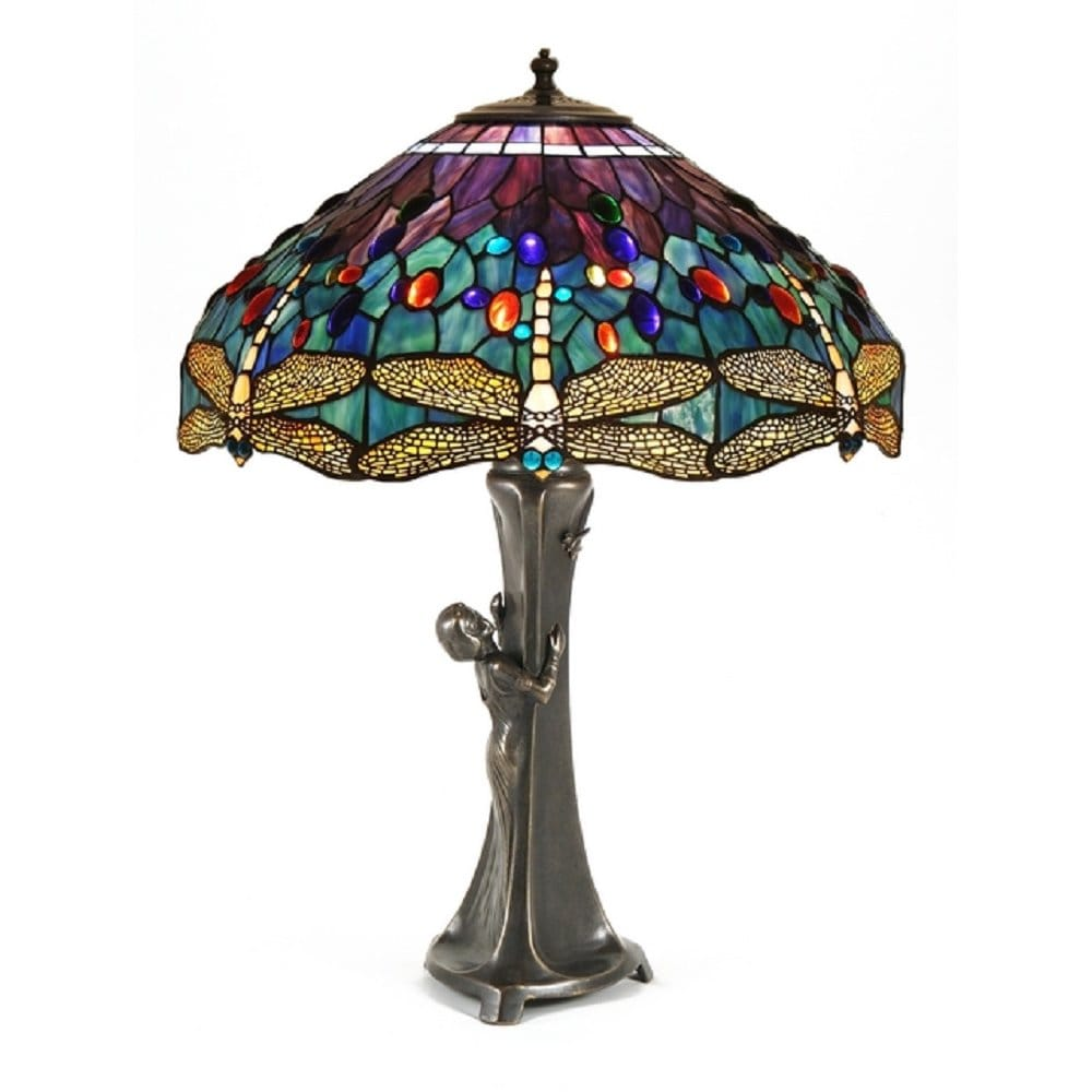 Gurschner Inspired Table Lamp With Female Figure Amp Tiffany