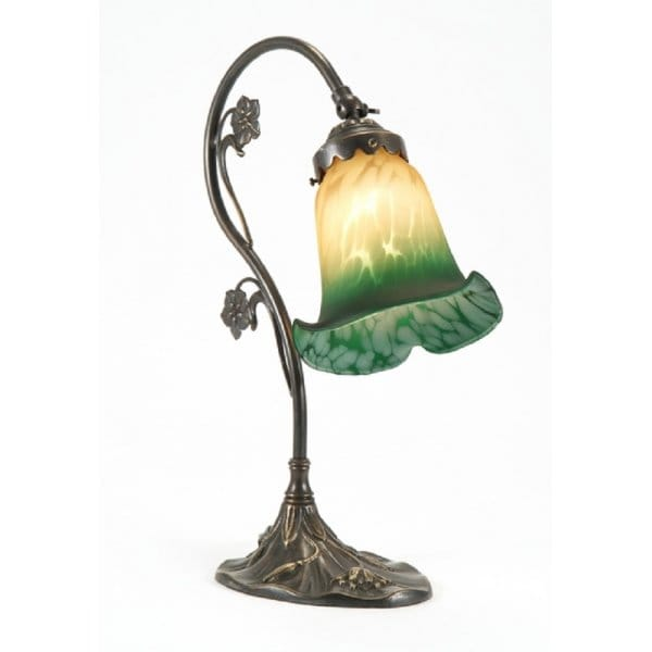 Art Nouveau Style Victorian Table Lamp In Aged Brass With