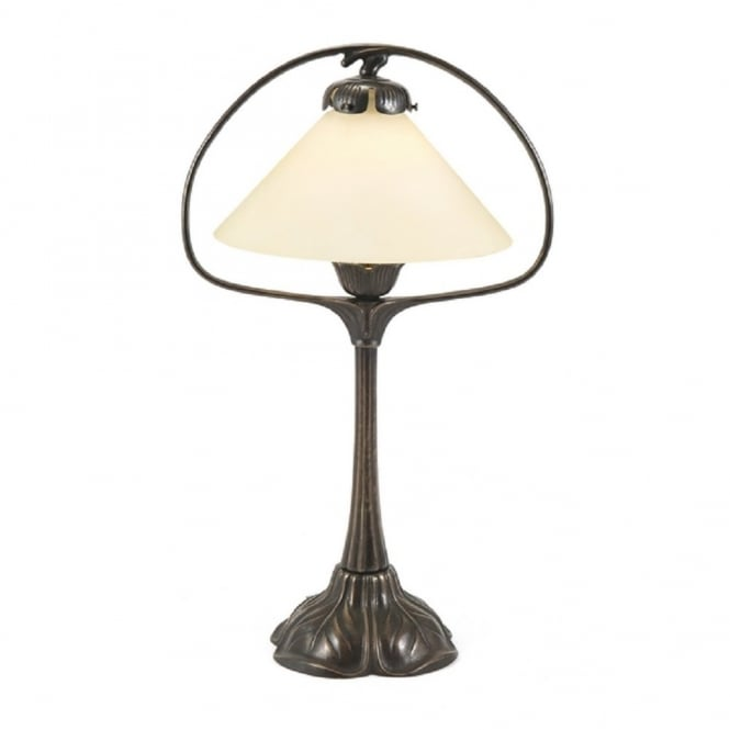 NOUVEAU Hoop Table Lamp, Aged Brass With Cream Coolie Shade