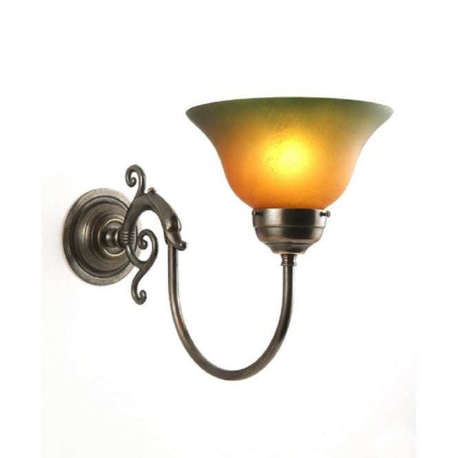 British Made Wall Lights : Victorian Aged Brass Single Wall Light with Amber Green Shade