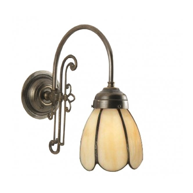 Single Victorian Replica Wall Light with Tiffany Petal Shade