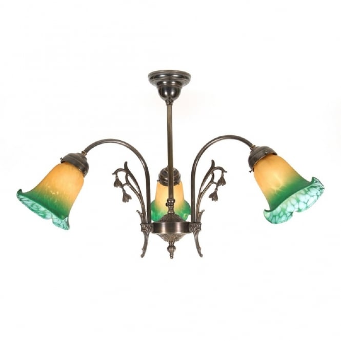 Classic British Lighting SNOWDROP 3 light Victorian ceiling pendant, buttermilk green shades