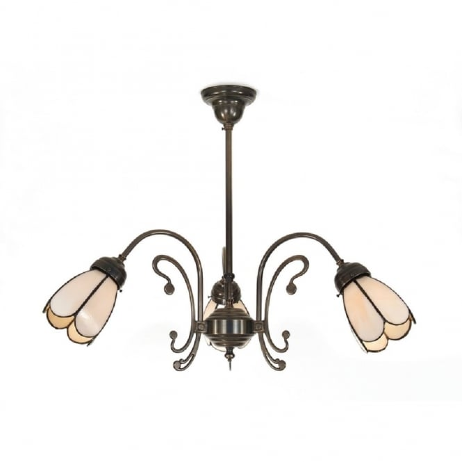 Classic British Lighting VICTORIAN 3 arm ceiling light, Tiffany shades