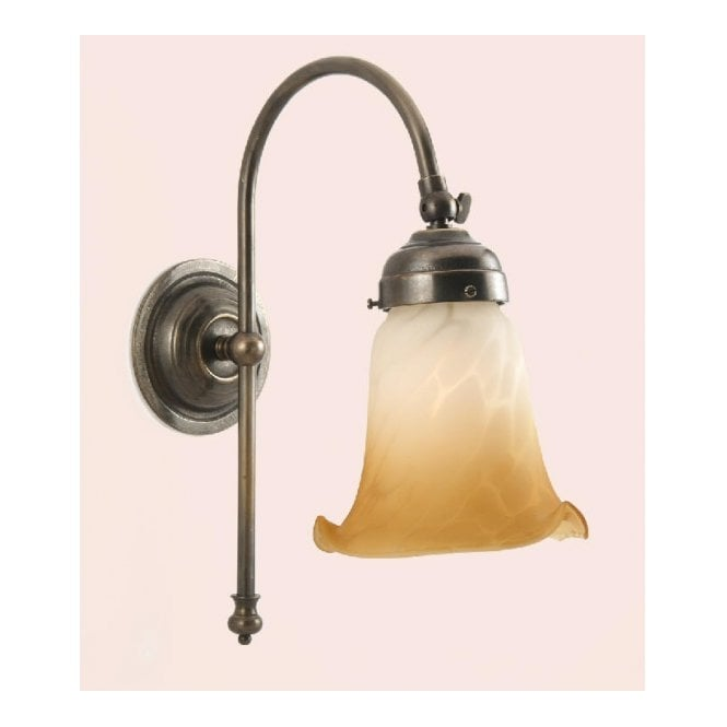 Classic British Lighting VICTORIAN single wall light in aged brass with alabaster white & amber glass shade