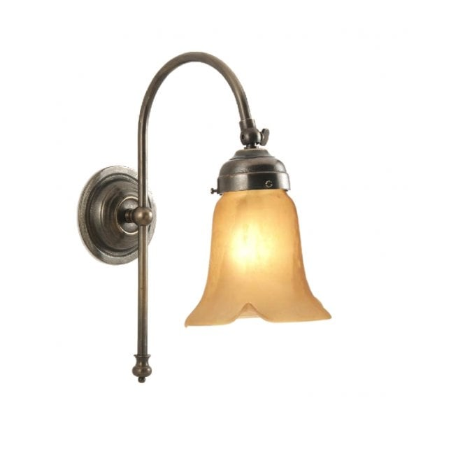 Classic British Lighting VICTORIAN single wall light in aged brass with amber lily glass shade