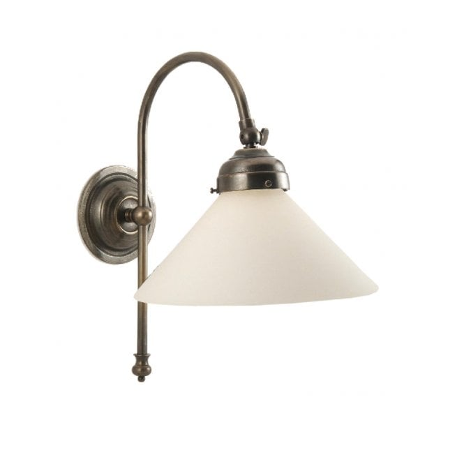 Classic British Lighting VICTORIAN single wall light in aged brass with white coolie shade