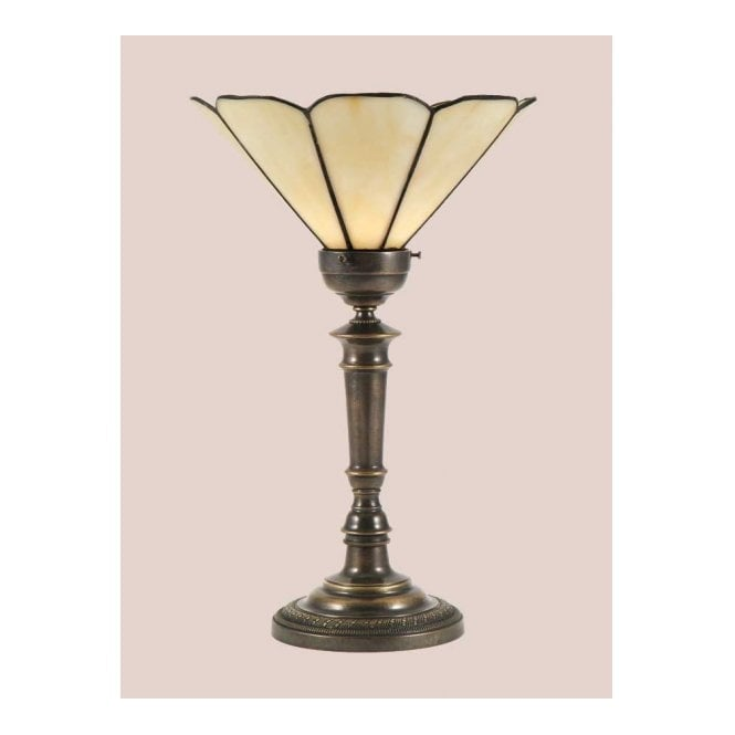 VICTORIAN uplighter table lamp with Tiffany shade